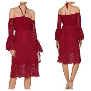 Walter Baker NWT Red Lacey Dress Off Shoulder